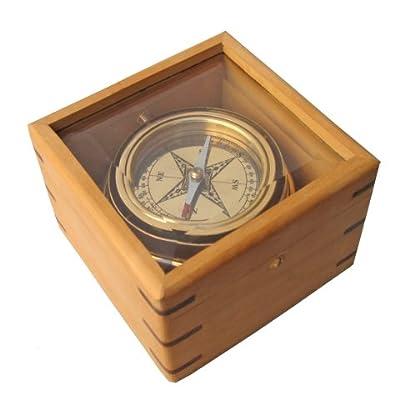 """Brass Desktop Gimbaled Compass 4.5"""" W/ Hardwood Case - Nautical Collection"""