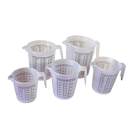5 Piece Plastic Measuring Jug Cups Set by Kurtzy - Kitchen Accessories Cooking Utensils Beaker Set With Pour Spout - Liquid Measure Scale 2000ml 1500ml 1000ml 800ml 600ml - Ideal for any Budding Chef