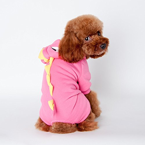 T Rex Cat Costume (Pet Leso® Dog Puppy Costumes Doggie Cat Jumpsuit Godzilla Apparel Dragon T-rex Dinosaur Raptor Plush Costumes Pink #5 -Chest:21.5