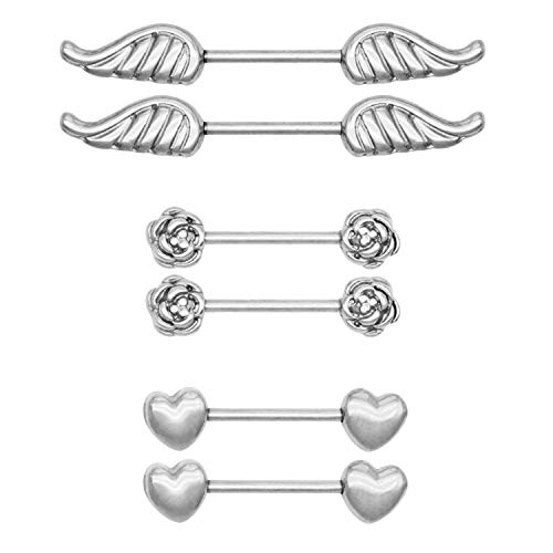 D.Bella Heart Wing Flower Nipple Barbell Ring 14G 5/8 inch Stainless Steel Nipple Bar Piercing -