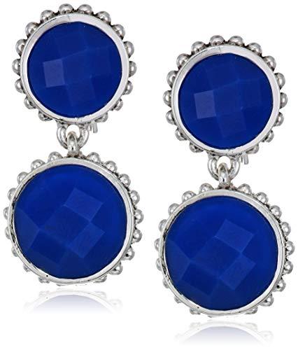 Napier Women's Silver Blue Ez Comfort Clip Circle Double Drop Earrings