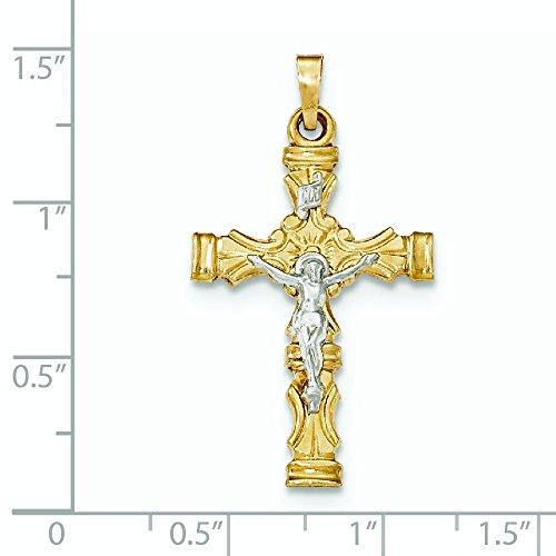 Or bicolore 14carats brossé et poli pendentif croix latine