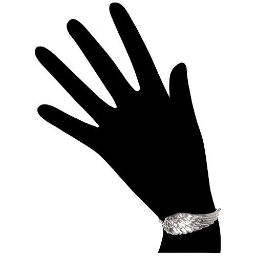"100% Nickel Free! 2.5"" Angel Wing Bracelet, 7 1/2"" + 1 1/2"" Extn., USA!, Large Bracelet Large (2-1/2"") in Silver Tone"