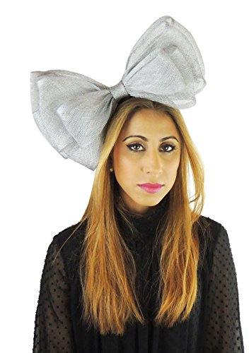 Hats By Cressida Ladies Sinamay Bow Ascot Fascinator Hat With Headband Metallic Silver by Hats By Cressida