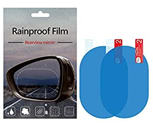 Car Rearview Mirror/Side Window Rainproof Film, Anti-Water/ Anti-Fog/ Anti-Glare/ Anti-Scratch Mirror Protective Film for Car/Motorbike/Bus, Waterproof Rearview Mirror Clear Film, Auto Accessories (2PCS) (100mm*150mm)