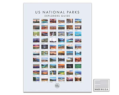 USA National Park Map - Interactive Educational Travel Map With All 60 US National Parks - Made in the USA - Mark Your Travels Through Our Beautiful National Parks (17 x 24 Inch, White)