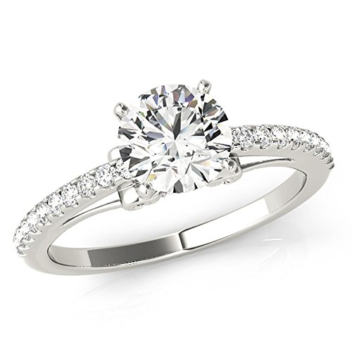 Scintilenora Curved Cathedral Pave Diamond Engagement Ring 18k Gold 1 1/10 TDW