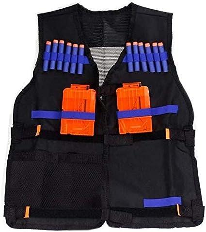 Syxfckc 54x47cm niños del Chaleco Negro Chaleco táctico Dardos Tren Clip de Juguete Pistola de Balas de munición Ligera Aviones Seguridad hreh (Color : Black)