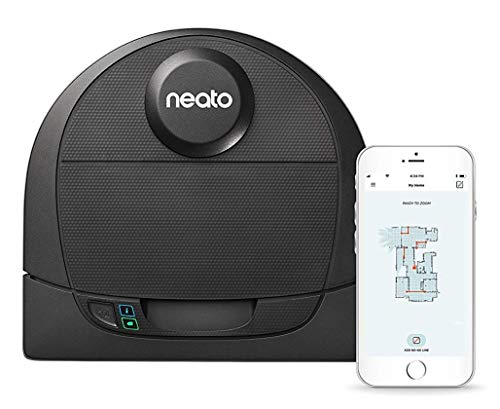 Neato Robotics D4 Connected Laser Guided Robot Vacuum Featuring No-Go Lines, Works with Amazon Alexa, Black