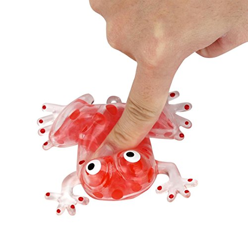 (Fimkaul Novelty 6cm Bead Stress Ball Sticky Squeeze Toy Frogs Stress Relief Decompression Toy (Red))