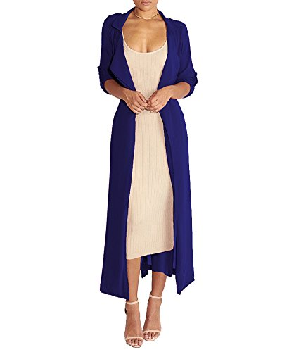 Mojessy Womens Lightweight Waterfall Belted Open Long Chiffon Maxi Cardigan Sweater, Sapphire Blue-1, ()