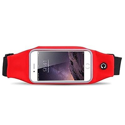 'Support de ceinture pour appareils de 4,7avec poche et fente pour écouteurs Rouge