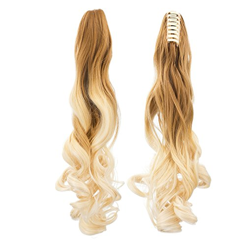 SWACC Long Curly Ombre Color Claw Clip Ponytail Extension Synthetic Clip in Ponytail Hairpiece Jaw Clip Hair Extensions (Blonde (Braid In Ponytail)