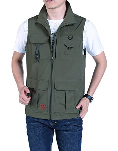 Gihuo Men's Casual Outdoor Stand Collar Lightweight Quick Dry Travel Softshell Vest Outwear (Army Green#2, Large)