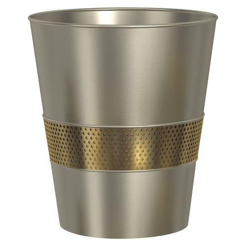 ed Wastebasket, Large, Brushed & Gold ()