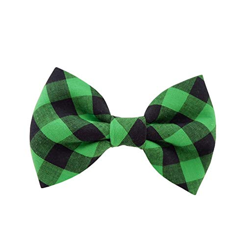THE DOK Black Green Plaid – Dog Cat Pet Bow Tie Bowtie Collar Accessory 4 inch Christmas New Year 2020 Gift