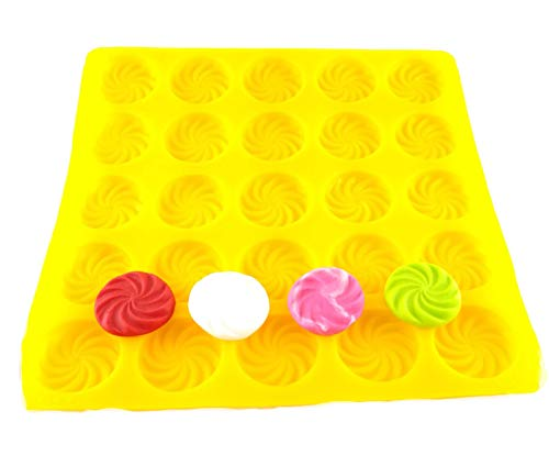 Flexible Molds - Swirl (25 cavity) - Cream Cheese Mint Molds - Candy Melts - Fondant - Caramels - Soft Candy Molds