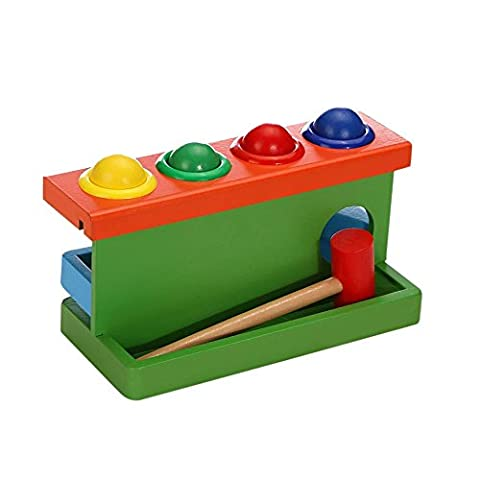 1 pc Colorful Wooden Lifting Double Layers Ball Tables Play Knock Ball Games Toy Puzzles Toy (Starting Montessori School)