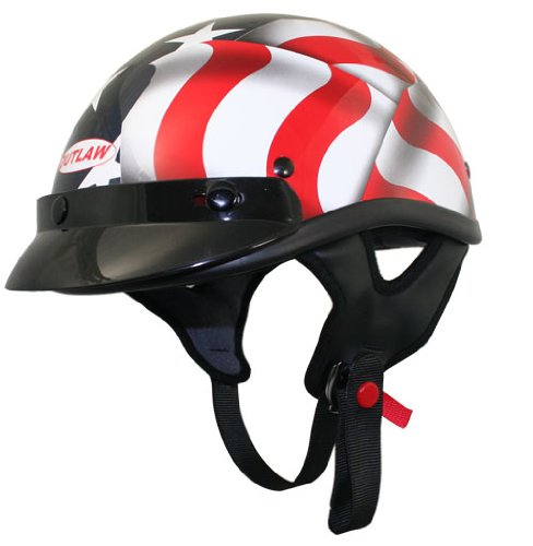 Outlaw T70 DOT 3D American Flag Half Face Helmet with Visor - Medium (Helmet Flag Motorcycle)