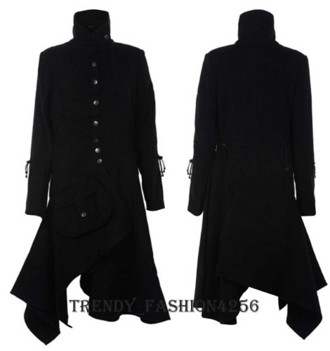 Ladies Womens Military Style Fitted Long Drape Jacket Coat Top ...