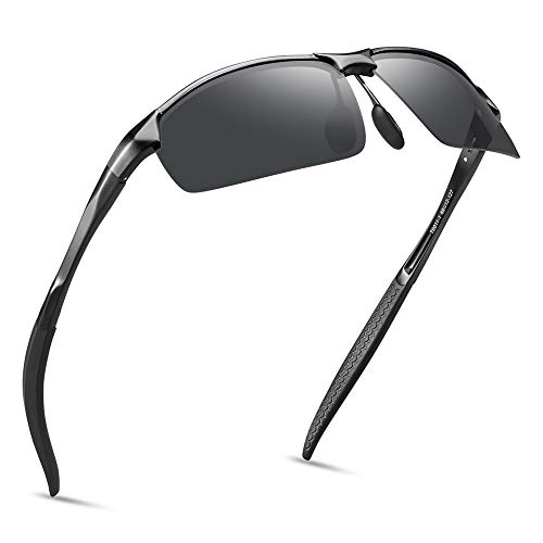 SOXICK Polarized Sport Sunglasses for Men - Adjustable Metal Half Frame Glasses for Fishing Golf