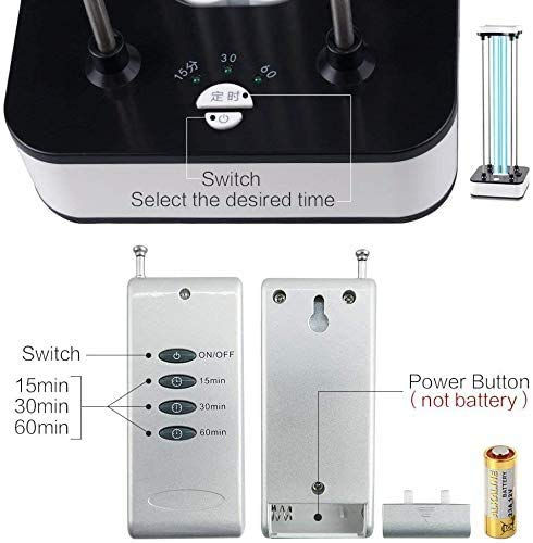 UV Light Sanitizer, Area-with Ozone Quartz Lamp 110V 36W Light with 15s Delay Time Remote Controller Improve Home Light for Living (Black-White, Universal)