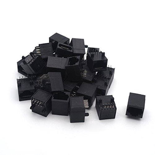 Antrader 30pcs RJ45 Modular Jack 8P8C 8 Pins PCB Mount Telephone Connector by Antrader