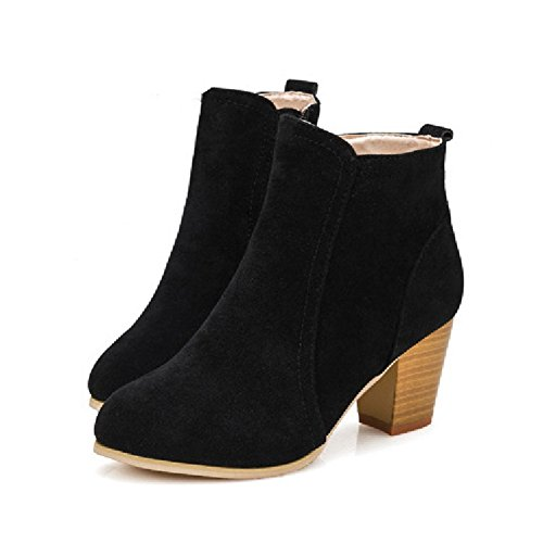 CYBLING Fashion Square Heel Zipper Booties for Women Dress Walking Short Ankle Boots Black s4KAohVF