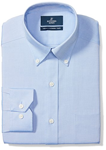 BUTTONED DOWN Men's Tailored Fit Button-Collar Solid Non-Iron Dress Shirt (Pocket), Blue, 16.5