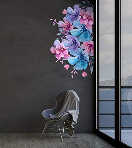 Murwall Floral Wall Decal Gardenia Flower Wall Stickers Watercolor Blossom Peel and Stick Colorful Florals Removable Sticker