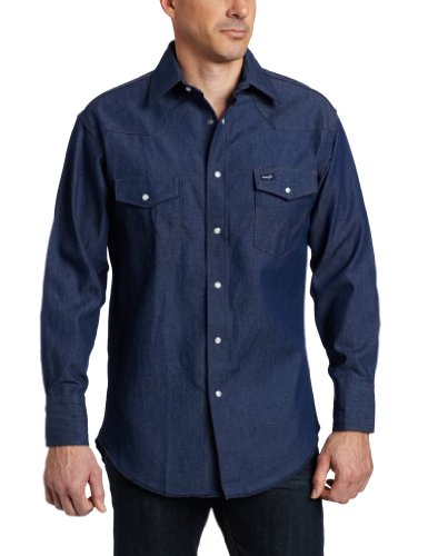 36 Finish (Wrangler Men's Authentic Cowboy Cut Work Western Long-Sleeve Firm Finish Shirt,Blue,18 36)