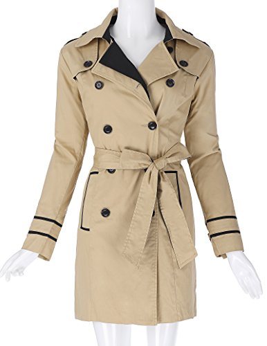 Coat Trench Belt Kasin Women's Kate Breasted Lapel Slim Fit Collar Double Cotton Khaki with KK476 zFq7zvxS