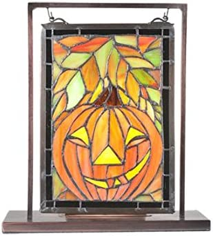 Meyda Tiffany 65267 Jack O Lantern Lighted Decorative Mini Tabletop Window, 9.5 Width x 10.5 Height