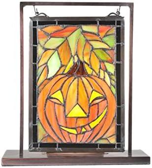Meyda Tiffany 65267 Jack O Lantern Lighted Decorative Mini Tabletop Window