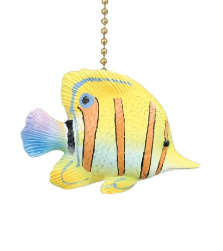 Tropical Yellow Angelfish Ceiling Fan (Fish Ceiling Fan Pull)