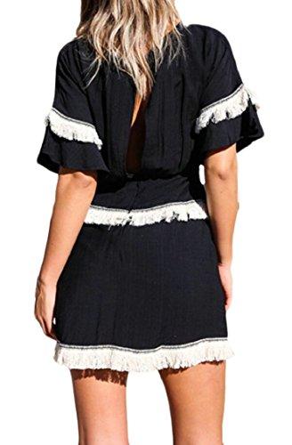 Jaycargogo Des Femmes De Garniture Pompon Été Mini Manches Courtes D'une Ligne T-shirt Robe Noire