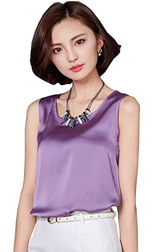 ezShe Women's Round Neck Sleeveless Blouse Satin Shell Tops Purple ()