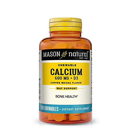 Mason Natural, Chewable Calcium 600 with Vitamins D3,  Coffee Mocha Flavor, 100-Count (Pack of 3), Chewable Vitamins Supports Healthy Teeth, Bones, Joints and Colon Health