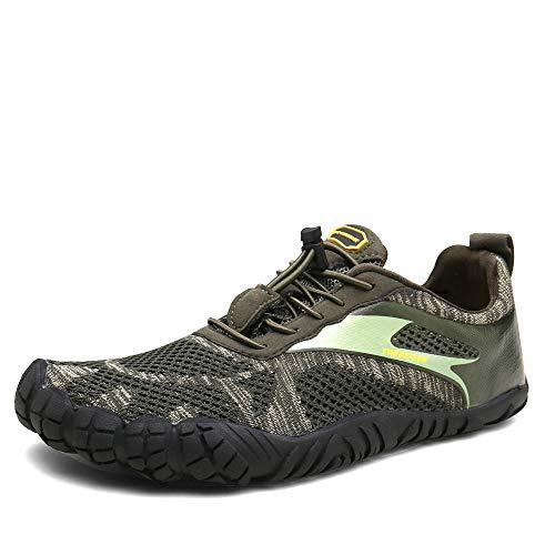 Oberm Mens Trail Running Shoes Minimalist Barefoot 5 Five Fingers Wide Width Toe Box Gym Workout Fitness Low Zero Drop Male Walking Trainer Cross Training Crossfit Khaki