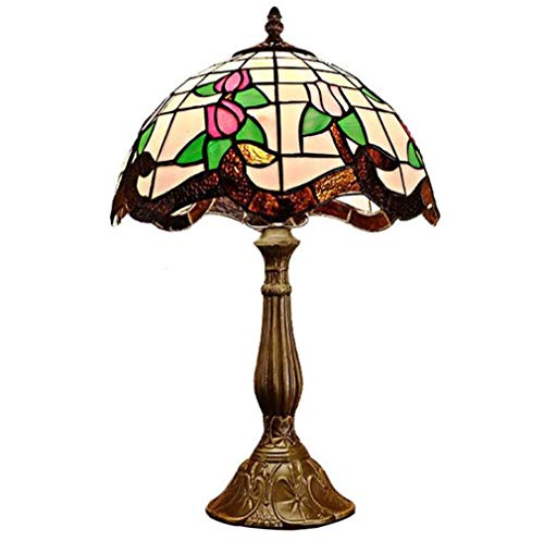Tiffany Style Table Lamp, 12-Inch Stained Glass Pink Lotus & Green Leaf Pattern Lampshade Desk Lamp Foe Bedroom Bedside Lamp Study, 110-240V/E27, E26×1
