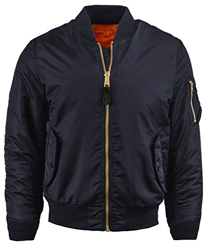 IV Mens MA-1 Reversible Bomber Flight Jacket Active Casual Military 1IVA0001 (Medium, MA-1 Navy) (Reversible Ma Jacket Flight 1)