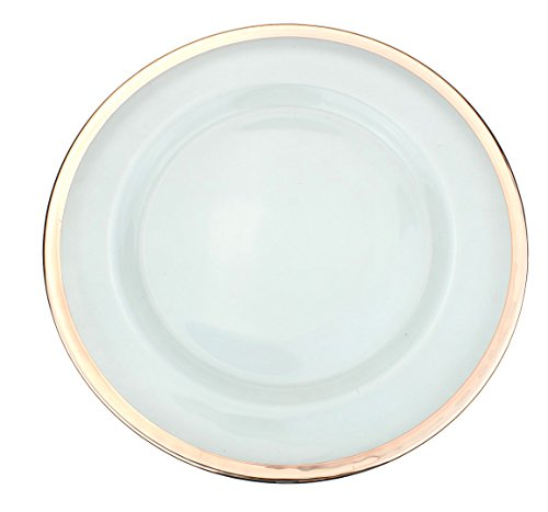 Clear Glass Charger 13 Inch Dinner Plate With Metallic Rim -