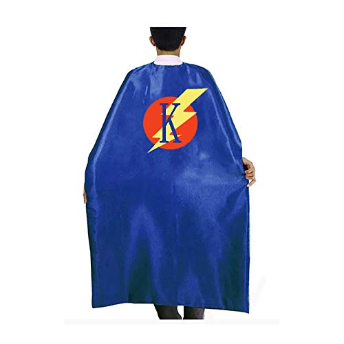 RANAVY Superhero Capes for Kids/Adult with Masks-Flash Dress Up Birthday Party Favors 26 Letters 10 Numbers Initial Blue/Red (Adult K) ()