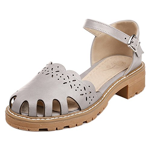 Strap Heel Chunky Women Grey Shoes Coolcept Pumps wvXzxqnF