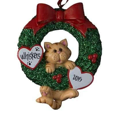Orange Tabby Cat Glitter Wreath Personalized - (Unique Christmas Tree Ornament - Classic Decor for A Holiday Party - Custom Decorations for Family Kids Baby Military Sports Or Pets)]()