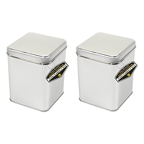 Mighty Gadget (R) Small Size Square Empty Slip on Lid Survival Tin Container for Geocaching or Survival Gear (2 Pack) - 2.375