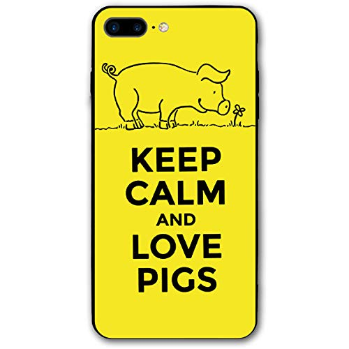Lookjufjiii80 Silicone Case for iPhone 8 Plus, iPhone 7 Plus Case, Keep Calm and Love Pigs Soft Shell Shockproof Gel Rubber Bumper Case Full-Body Protective Cover for Apple iPhone 7/8 Plus 5.5''