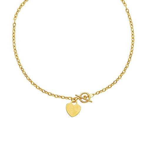 - MCS Jewelry 14 Karat Yellow Gold Toggle Necklace with Heart Dangle Charm (17
