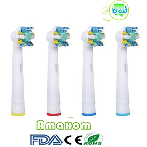 Amaxom Premium Replacement Toothbrush Heads for Oral-B Floss Action EB25-4(EB-25A),4 Count(1-pack).