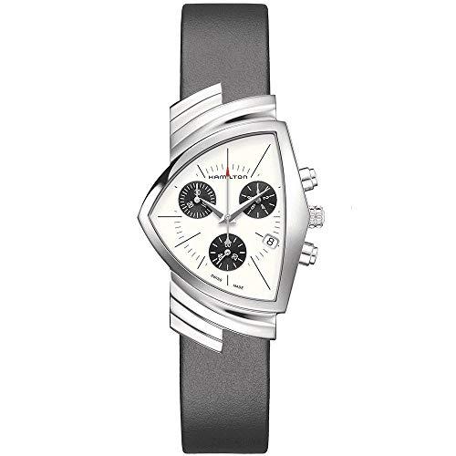 (Hamilton H24432751 Ventura Chrono Quartz Unisex Watch Black Leather)